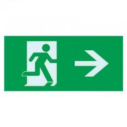 Skilt nødudgang højre pil